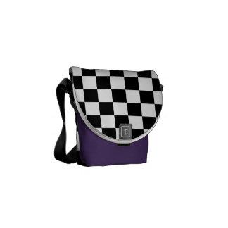 Schwarzweiss-Schachbrett Kurier Taschen