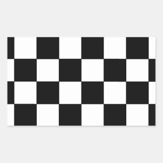Schwarzweiss-Schachbrett-Retro Hipster Rechtecksticker