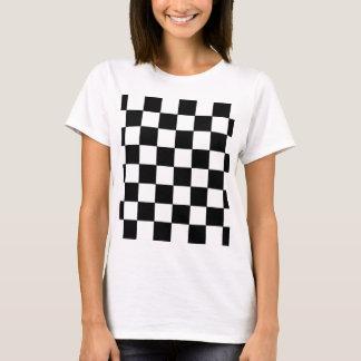 Schwarzweiss-Schachbrett-Retro Hipster T-Shirt