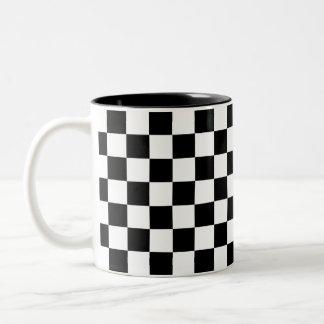 Schwarzweiss-Schachbrett Zweifarbige Tasse