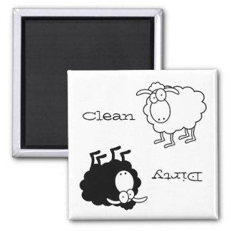 Schwarzweiss-Schafe Sauber-Schmutziger Magnet Quadratischer Magnet