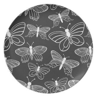 Schwarzweiss-Schmetterling Party Teller
