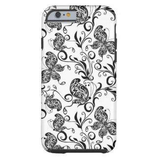 Schwarzweiss-Schmetterlinge und Wirbels-Muster Tough iPhone 6 Hülle