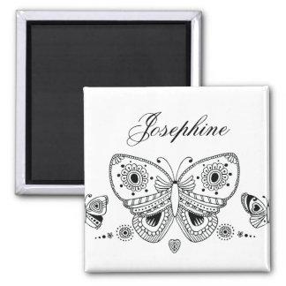 Schwarzweiss-Schmetterlings-individueller Name Quadratischer Magnet