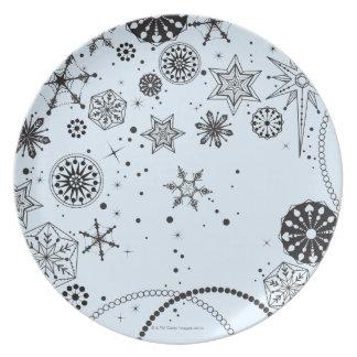 Schwarzweiss-Schneeflocke-Kreis Teller