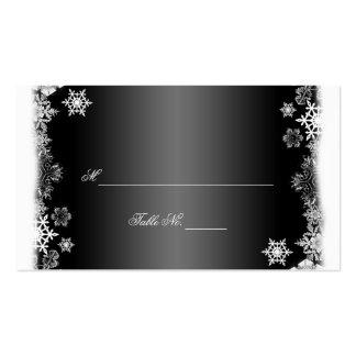 Schwarzweiss-Schneeflocken, die Platzkarten Visitenkartenvorlagen