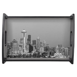 Schwarzweiss-Seattle-Stadtbild Tablett