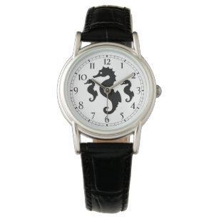 Schwarzweiss-Seepferd-Silhouetten Uhr