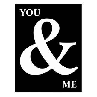 Schwarzweiss Sie und ich Etzeichen Postkarte