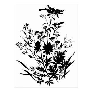 Schwarzweiss-Silhouette-Blumen… Postkarte