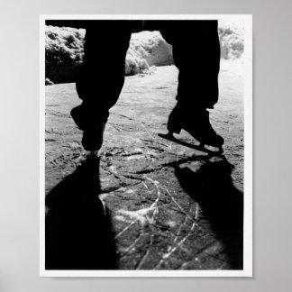 Schwarzweiss-Skate-Silhouette Poster