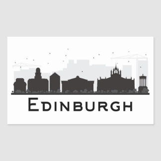Schwarzweiss-Skyline Edinburghs Schottland | Rechteckiger Aufkleber