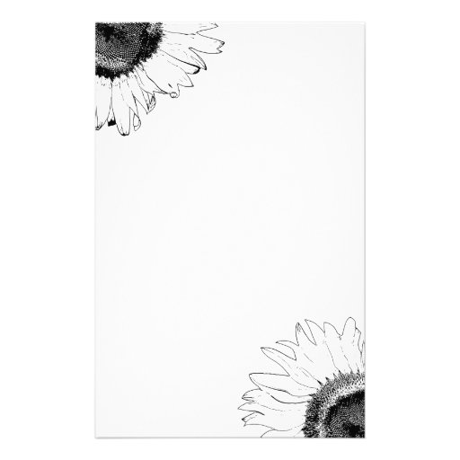 Schwarzweiss-Sonnenblume-Briefpapier Personalisierte Büropapiere