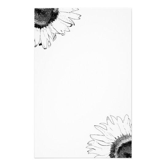 Schwarzweiss-Sonnenblume-Briefpapier Personalisiertes Druckpapier