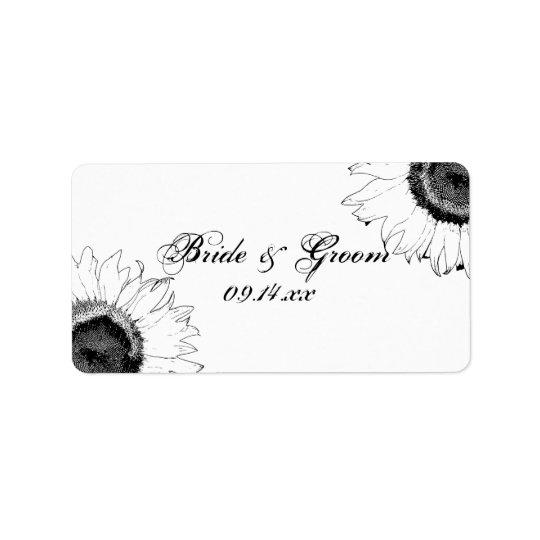 Schwarzweiss-Sonnenblume-Gastgeschenk Adressetikett