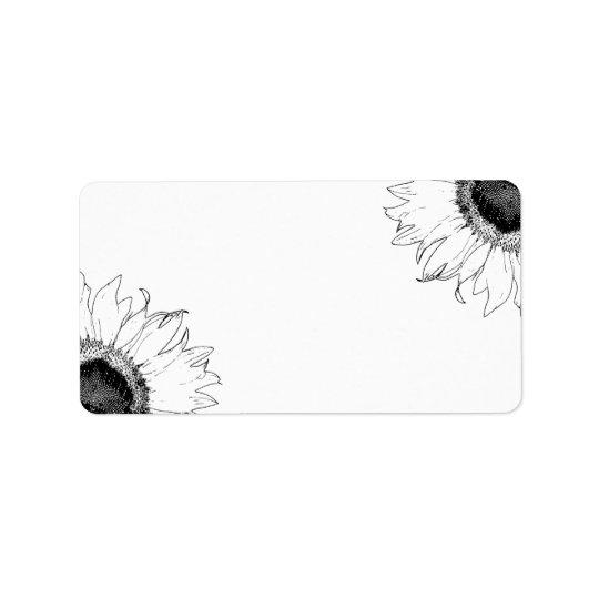 Schwarzweiss-Sonnenblumen Adressetiketten