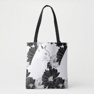 Schwarzweiss-Spillseil, das mit Blumen zeichnet Tasche