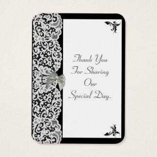 Schwarzweiss-Spitzehochzeit danken Ihnen zu Visitenkarte