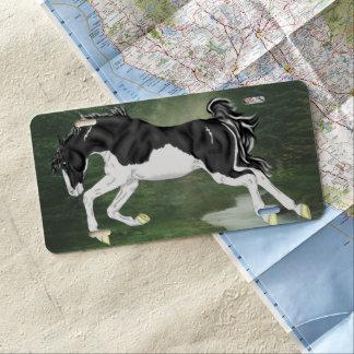 Schwarzweiss-Spritzen Overo Farben-Pferd US Nummernschild