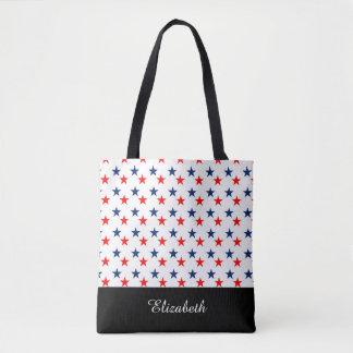 Schwarzweiss-Sterne mit Monogramm Tasche
