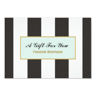 Schwarzweiss-Streifen-Butike-Geschenk-Zertifikat 8,9 X 12,7 Cm Einladungskarte