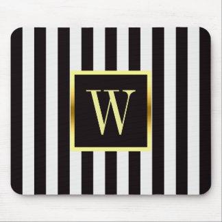Schwarzweiss-Streifen-Imitat-Goldrahmen-Monogramm Mousepad