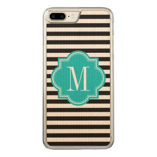 Schwarzweiss-Streifen mit aquamarinem Monogramm Carved iPhone 8 Plus/7 Plus Hülle