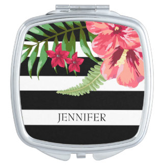 Schwarzweiss-Streifen mit exotischen Blumen Taschenspiegel
