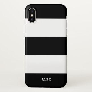 Schwarzweiss-Streifen mit individuellem Namen iPhone X Hülle