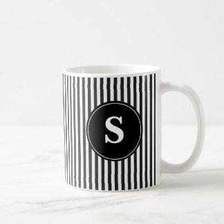 Schwarzweiss-Streifen-Monogramm Kaffeetasse