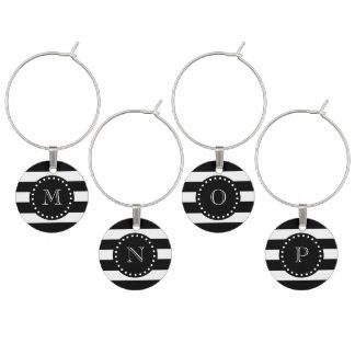 Schwarzweiss-Streifen-Muster, schwarzes Monogramm Weinglas Anhänger