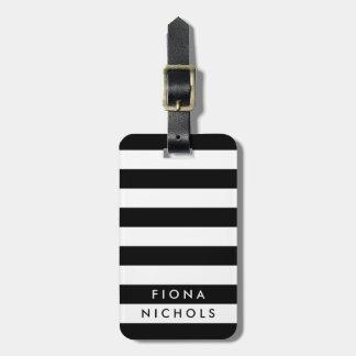Schwarzweiss-Streifen-personalisierter Gepäckanhänger