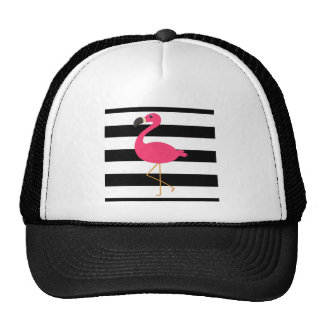 Schwarzweiss-Streifen-Rosa-Flamingo Kappe