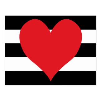 Schwarzweiss-Streifen-Rot-Herz Postkarte