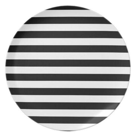Schwarzweiss-Streifen-| Striped Entwurf Melaminteller