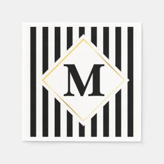 Schwarzweiss-Streifen-weißes Goldmonogramm Papierservietten