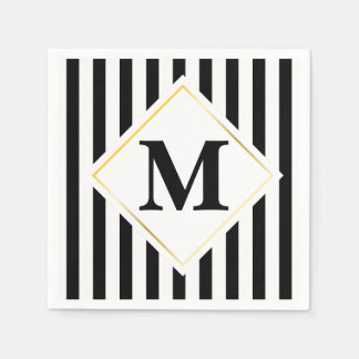 Schwarzweiss-Streifen-weißes Goldmonogramm Serviette
