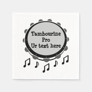 Schwarzweiss-Tambourine Papierserviette
