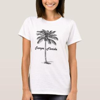 Schwarzweiss-Tampa- u. Palmenentwurf T-Shirt