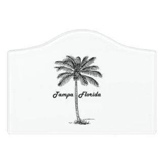 Schwarzweiss-Tampa- u. Palmenentwurf Türschild