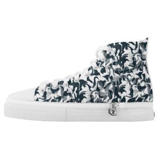 Schwarzweiss-Tarnung Hoch-geschnittene Sneaker
