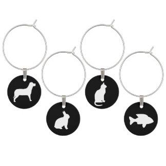 Schwarzweiss-Tiere: Katze, Hund, Kaninchen, Fisch Weinglas Anhänger