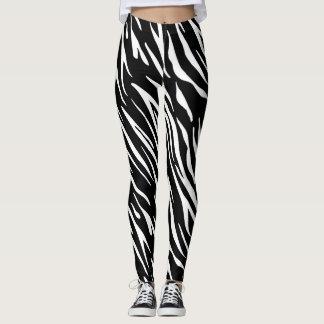 Schwarzweiss-Tiger-Streifen-Gamaschen Leggings