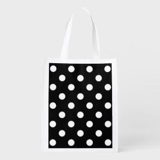 Schwarzweiss-Tupfen-Muster Wiederverwendbare Einkaufstasche