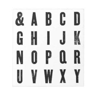 Schwarzweiss-Typografie Notizblock