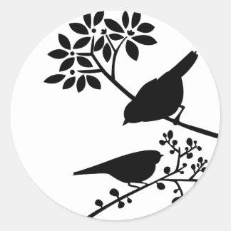 Schwarzweiss-Vögel Runder Aufkleber