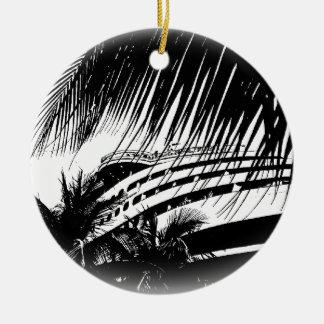 Schwarzweiss-Weihnachten der Kreuzschiff-Ferien-| Keramik Ornament