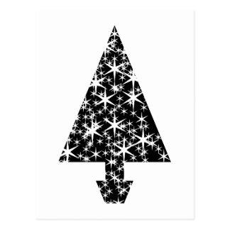 Schwarzweiss-Weihnachtsbaum-Entwurf Postkarte