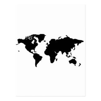 Schwarzweiss-Weltillustration Postkarte