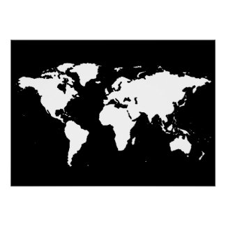 Schwarzweiss-Weltkarte Poster